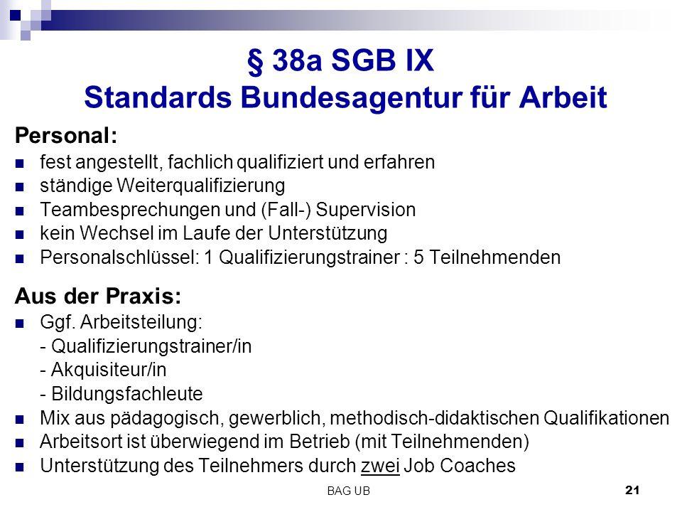 BAG UB 21 § 38a SGB IX Standards Bundesagentur für Arbeit Personal: fest angestellt, fachlich qualifiziert und erfahren ständige Weiterqualifizierung Teambesprechungen und (Fall-) Supervision kein Wechsel im Laufe der Unterstützung Personalschlüssel: 1 Qualifizierungstrainer : 5 Teilnehmenden Aus der Praxis: Ggf.