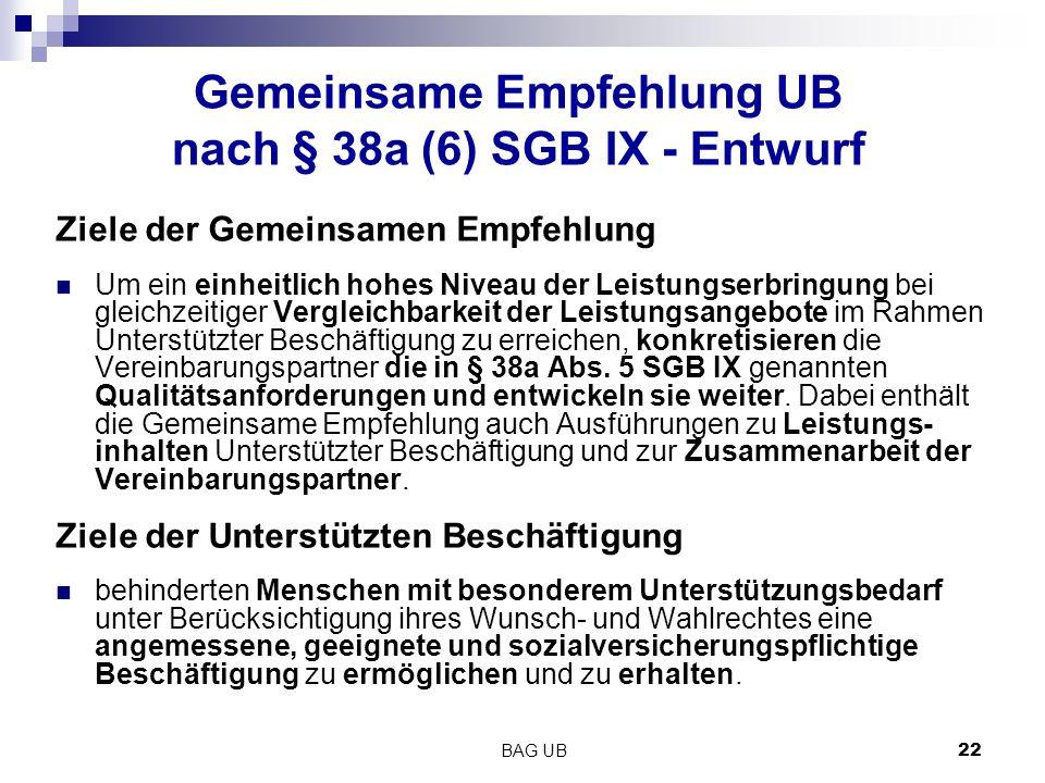 BAG UB 22 Gemeinsame Empfehlung UB nach § 38a (6) SGB IX - Entwurf Ziele der Gemeinsamen Empfehlung Um ein einheitlich hohes Niveau der Leistungserbringung bei gleichzeitiger Vergleichbarkeit der Leistungsangebote im Rahmen Unterstützter Beschäftigung zu erreichen, konkretisieren die Vereinbarungspartner die in § 38a Abs.