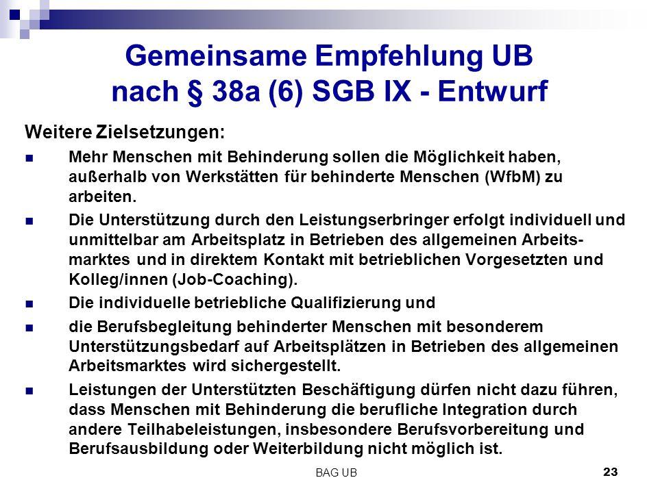 BAG UB 23 Gemeinsame Empfehlung UB nach § 38a (6) SGB IX - Entwurf Weitere Zielsetzungen: Mehr Menschen mit Behinderung sollen die Möglichkeit haben, außerhalb von Werkstätten für behinderte Menschen (WfbM) zu arbeiten.