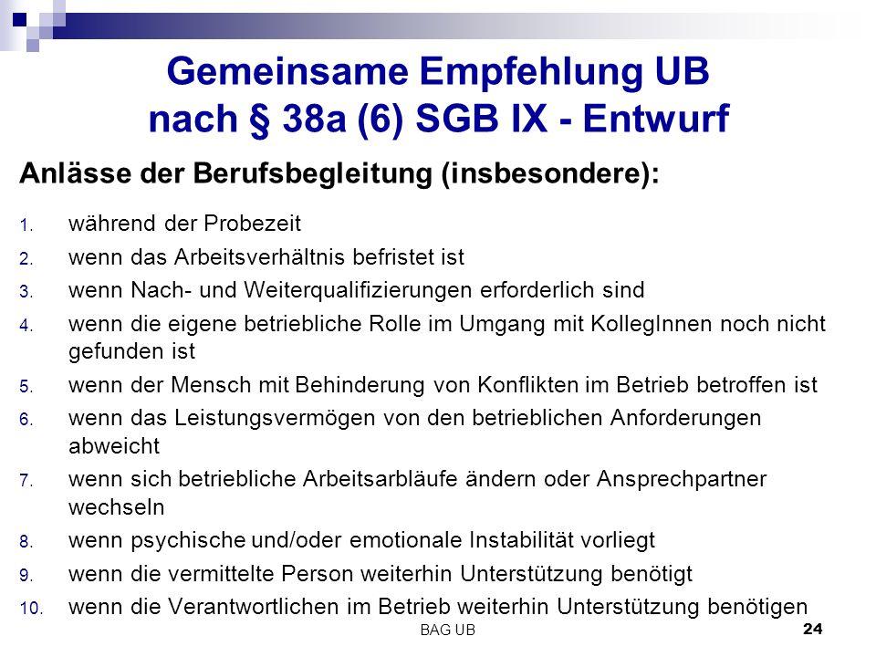 Gemeinsame Empfehlung UB nach § 38a (6) SGB IX - Entwurf Anlässe der Berufsbegleitung (insbesondere): 1.