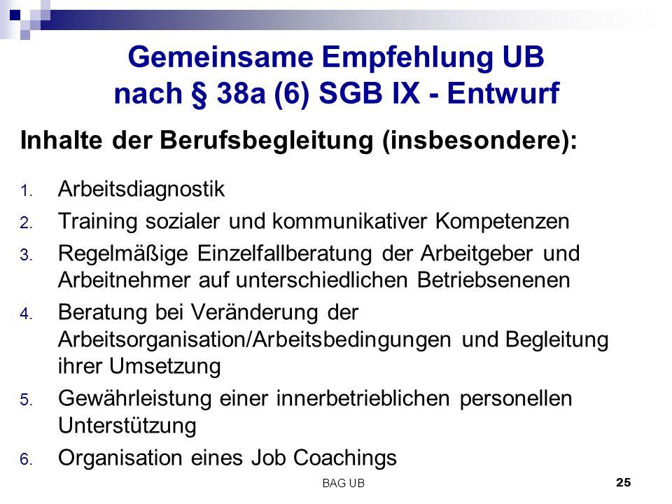 Gemeinsame Empfehlung UB nach § 38a (6) SGB IX - Entwurf Inhalte der Berufsbegleitung (insbesondere): 1.