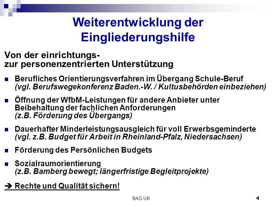 BAG UB 4 Weiterentwicklung der Eingliederungshilfe Von der einrichtungs- zur personenzentrierten Unterstützung Berufliches Orientierungsverfahren im Übergang Schule-Beruf (vgl.