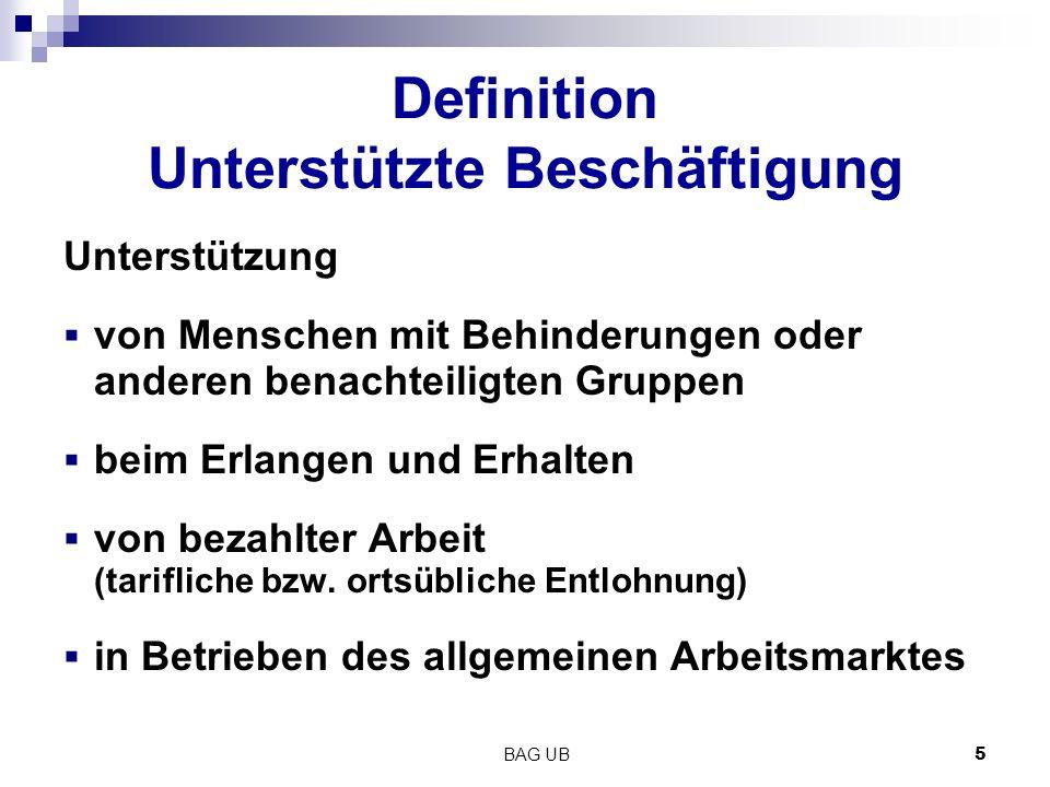BAG UB 5 Definition Unterstützte Beschäftigung Unterstützung  von Menschen mit Behinderungen oder anderen benachteiligten Gruppen  beim Erlangen und Erhalten  von bezahlter Arbeit (tarifliche bzw.