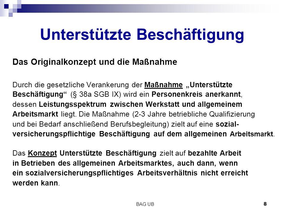 """BAG UB 8 Unterstützte Beschäftigung Das Originalkonzept und die Maßnahme Durch die gesetzliche Verankerung der Maßnahme """"Unterstützte Beschäftigung (§ 38a SGB IX) wird ein Personenkreis anerkannt, dessen Leistungsspektrum zwischen Werkstatt und allgemeinem Arbeitsmarkt liegt."""