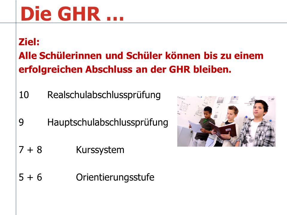 Die GHR … Ziel: Alle Schülerinnen und Schüler können bis zu einem erfolgreichen Abschluss an der GHR bleiben.