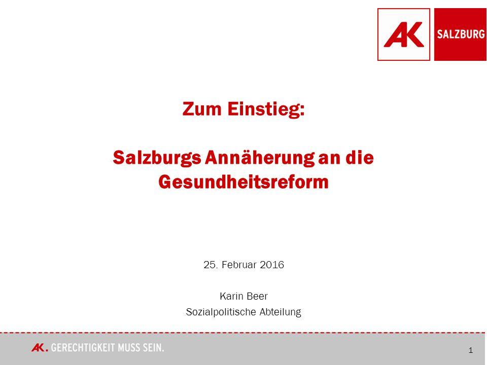 1 Zum Einstieg: Salzburgs Annäherung an die Gesundheitsreform 25.