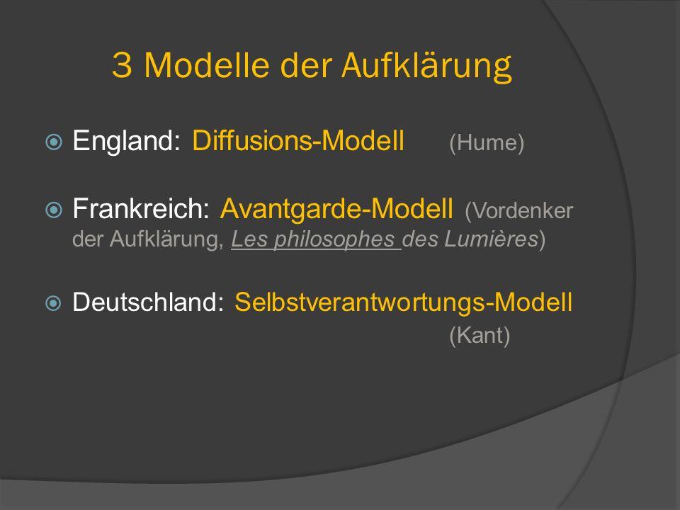 3 Modelle der Aufklärung  England: Diffusions-Modell (Hume)  Frankreich: Avantgarde-Modell (Vordenker der Aufklärung, Les philosophes des Lumières)