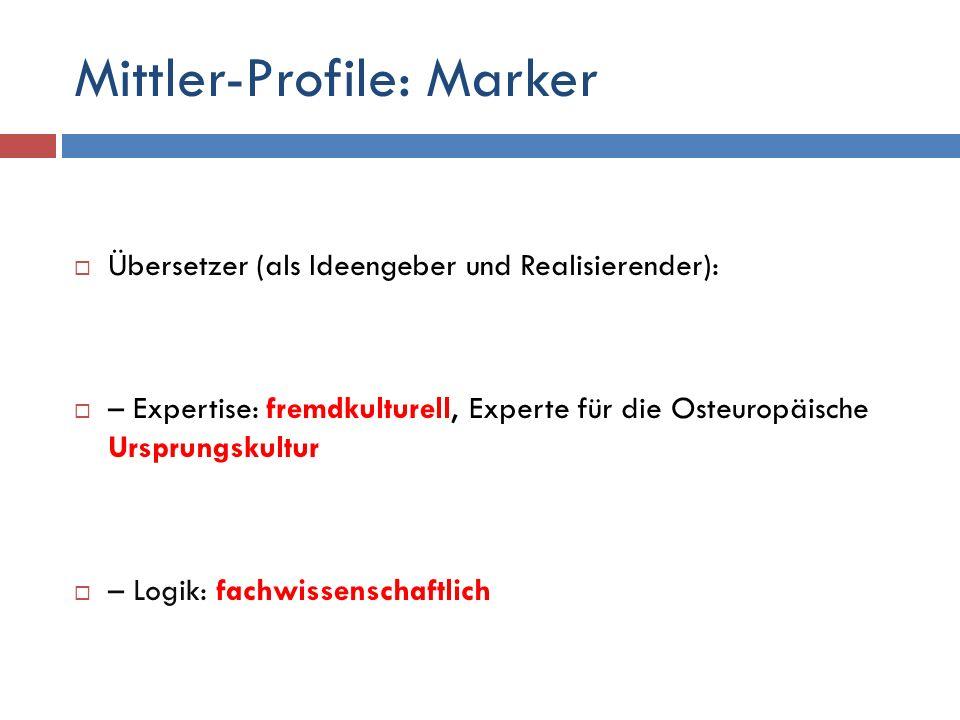 Mittler-Profile: Marker  Übersetzer (als Ideengeber und Realisierender):  – Expertise: fremdkulturell, Experte für die Osteuropäische Ursprungskultur  – Logik: fachwissenschaftlich