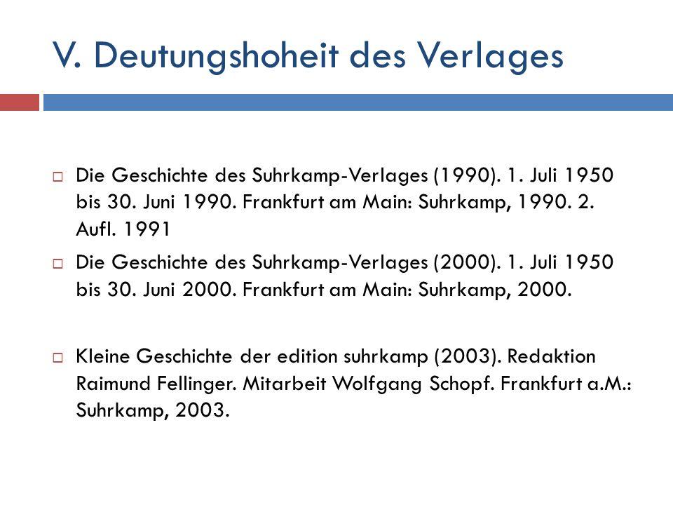 V. Deutungshoheit des Verlages  Die Geschichte des Suhrkamp-Verlages (1990).