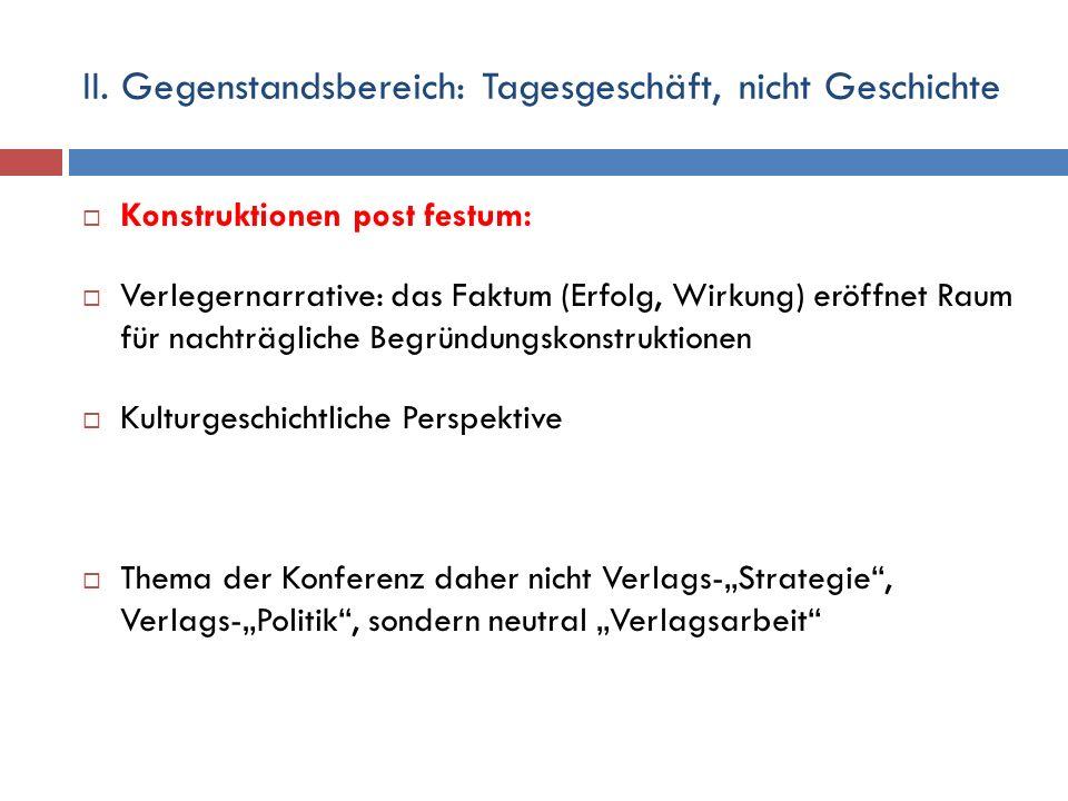 II. Gegenstandsbereich: Tagesgeschäft, nicht Geschichte  Konstruktionen post festum:  Verlegernarrative: das Faktum (Erfolg, Wirkung) eröffnet Raum