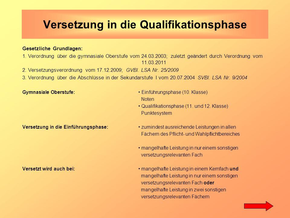 Versetzung in die Qualifikationsphase Gesetzliche Grundlagen: 1.
