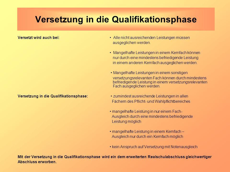 Versetzung in die Qualifikationsphase Versetzt wird auch bei: Alle nicht ausreichenden Leistungen müssen ausgeglichen werden.