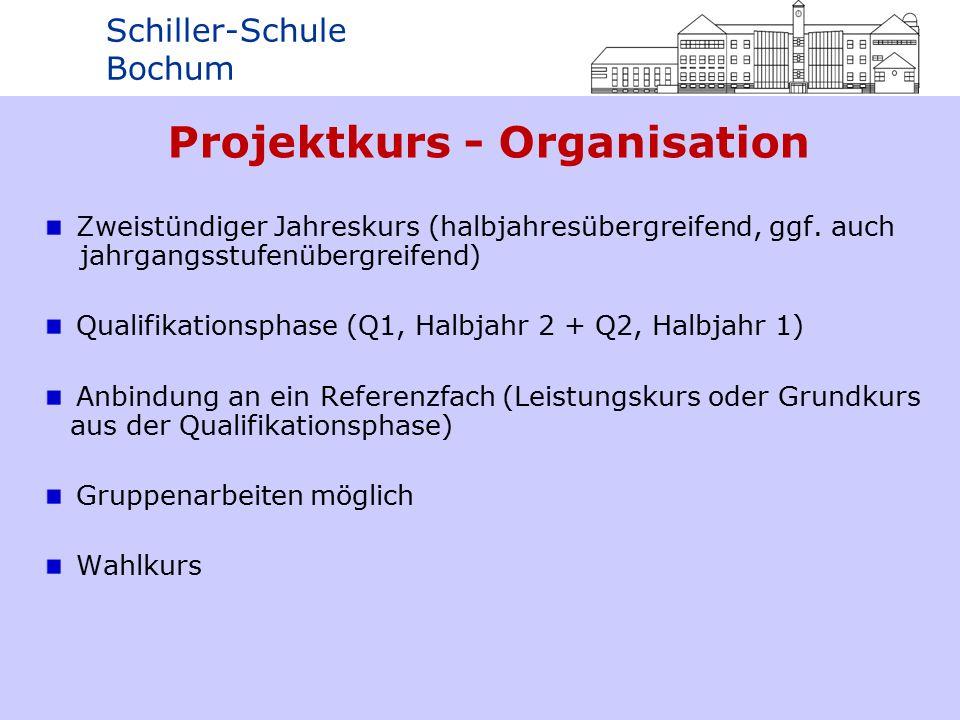 Schiller-Schule Bochum Projektkurs - Organisation Zweistündiger Jahreskurs (halbjahresübergreifend, ggf.