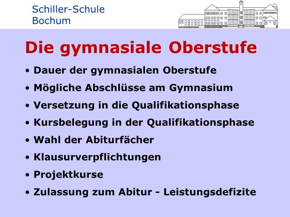 Schiller-Schule Bochum Dauer der gymnasialen Oberstufe Die gymnasiale Oberstufe (Sekundarstufe II) besteht aus drei Jahrgangsstufen: - Einführungsphase (EF) - 1.