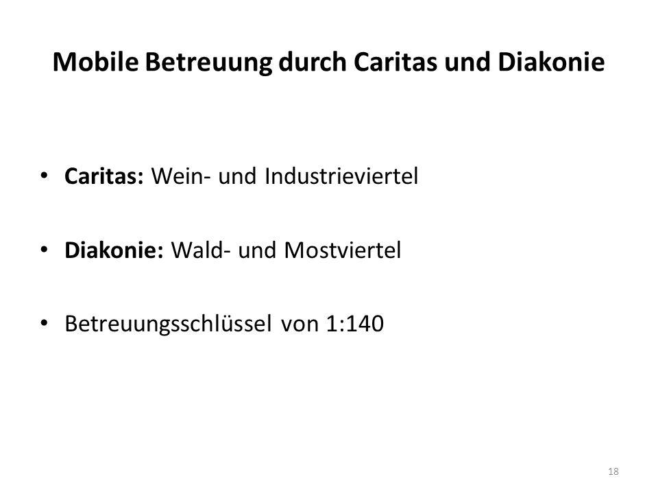 Mobile Betreuung durch Caritas und Diakonie Caritas: Wein- und Industrieviertel Diakonie: Wald- und Mostviertel Betreuungsschlüssel von 1:140 18