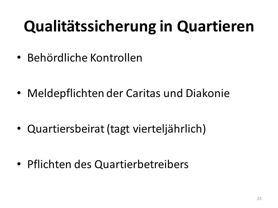 Qualitätssicherung in Quartieren Behördliche Kontrollen Meldepflichten der Caritas und Diakonie Quartiersbeirat (tagt vierteljährlich) Pflichten des Quartierbetreibers 24