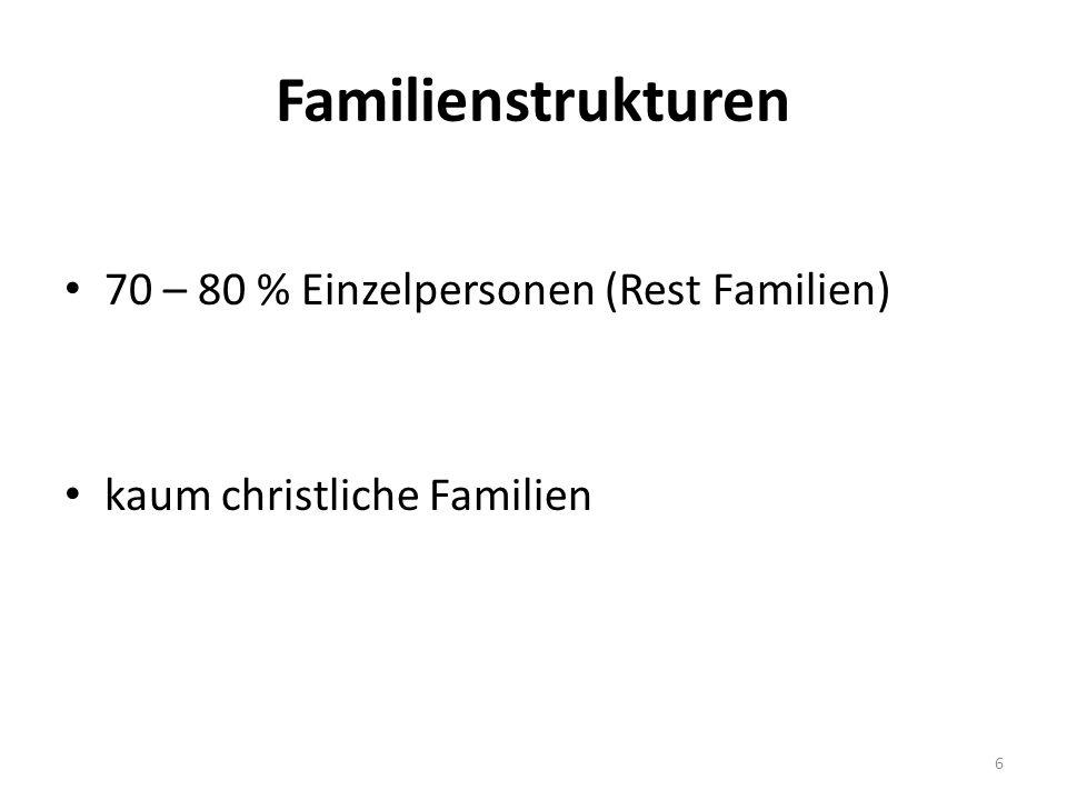 Familienstrukturen 70 – 80 % Einzelpersonen (Rest Familien) kaum christliche Familien 6