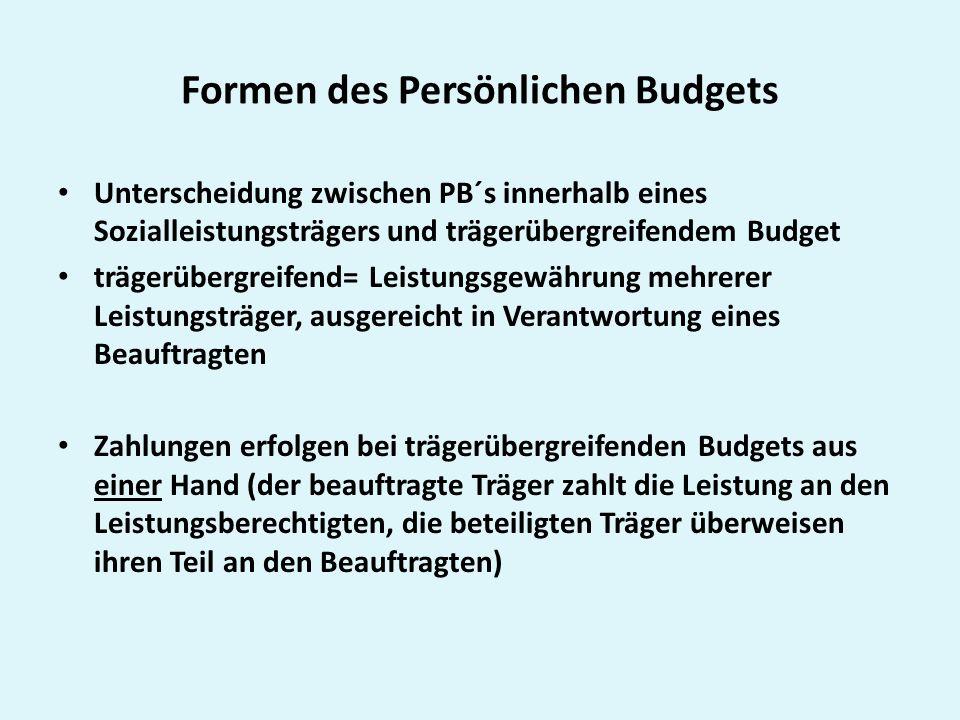Formen des Persönlichen Budgets Unterscheidung zwischen PB´s innerhalb eines Sozialleistungsträgers und trägerübergreifendem Budget trägerübergreifend
