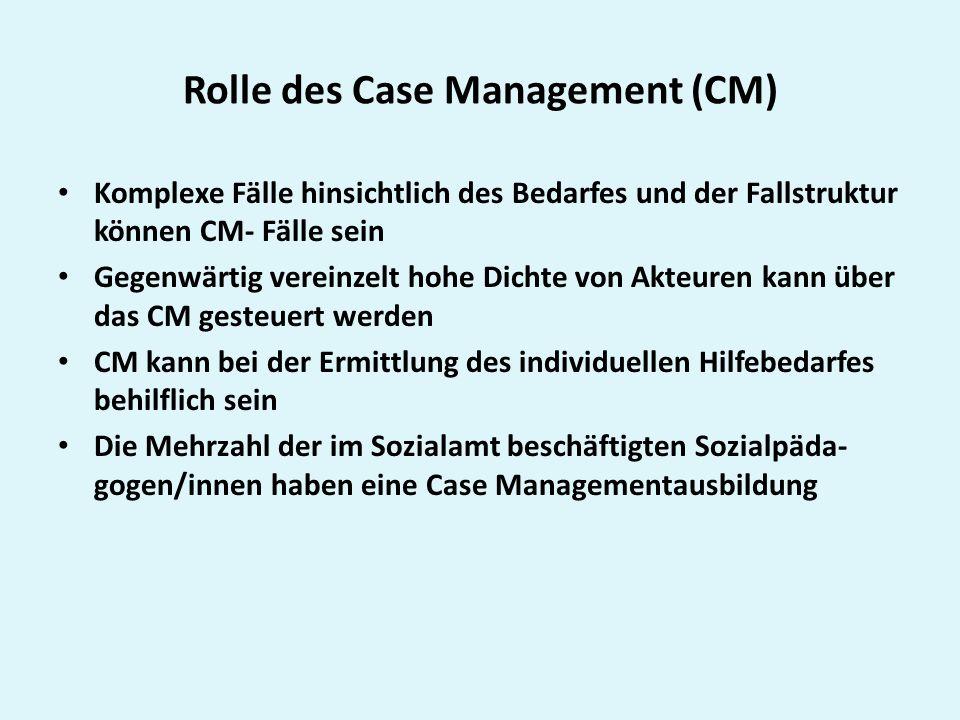 Rolle des Case Management (CM) Komplexe Fälle hinsichtlich des Bedarfes und der Fallstruktur können CM- Fälle sein Gegenwärtig vereinzelt hohe Dichte von Akteuren kann über das CM gesteuert werden CM kann bei der Ermittlung des individuellen Hilfebedarfes behilflich sein Die Mehrzahl der im Sozialamt beschäftigten Sozialpäda- gogen/innen haben eine Case Managementausbildung