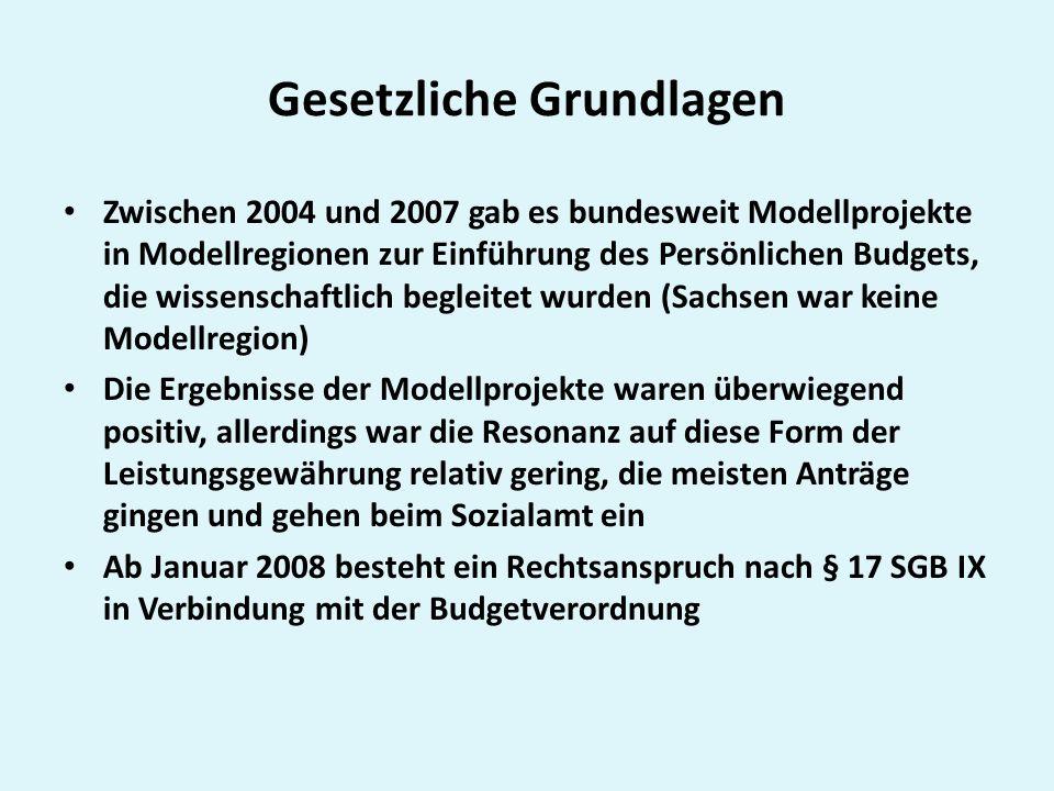 Gesetzliche Grundlagen Zwischen 2004 und 2007 gab es bundesweit Modellprojekte in Modellregionen zur Einführung des Persönlichen Budgets, die wissensc