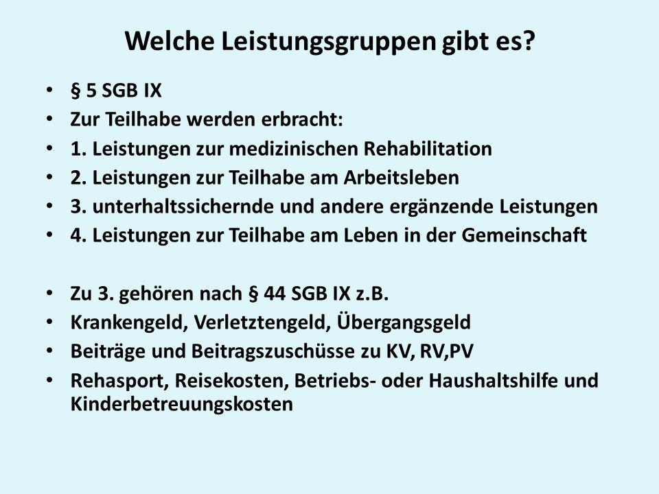 Beteiligte Rehabilitationsträger nach § 6 SGB IX: Gesetzliche Krankenkassen (1.
