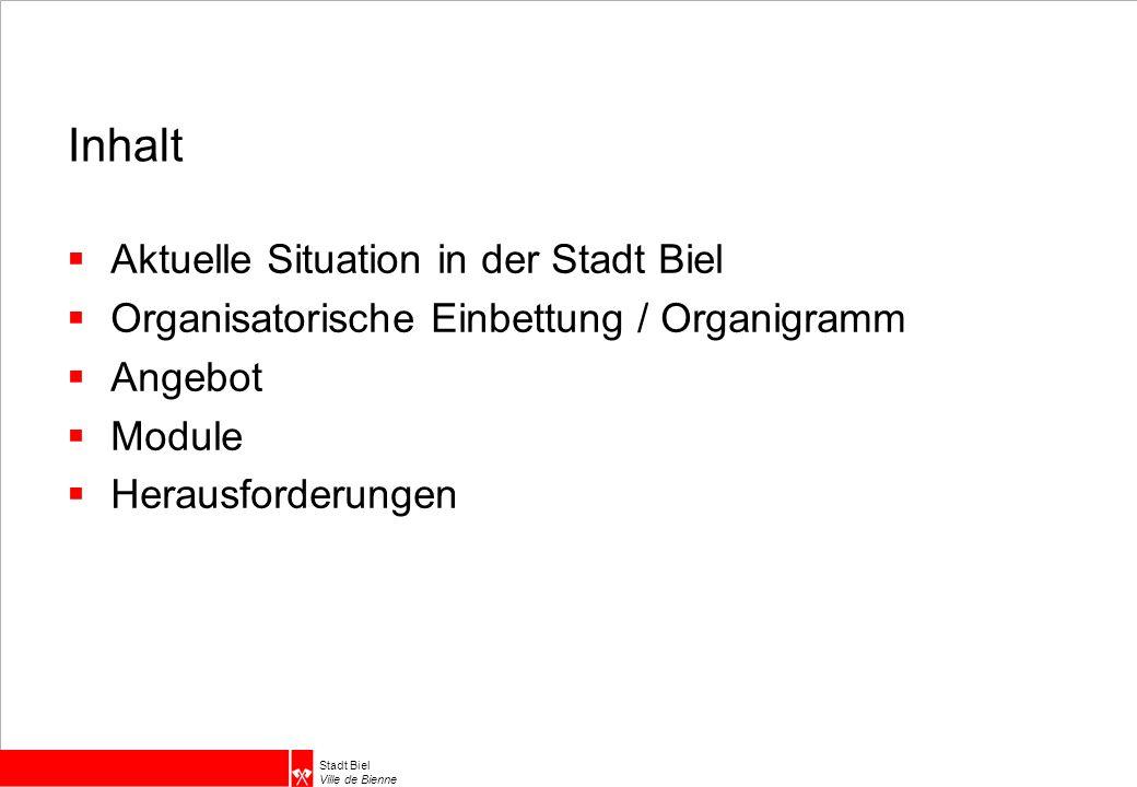 Stadt Biel Ville de Bienne Inhalt  Aktuelle Situation in der Stadt Biel  Organisatorische Einbettung / Organigramm  Angebot  Module  Herausforderungen