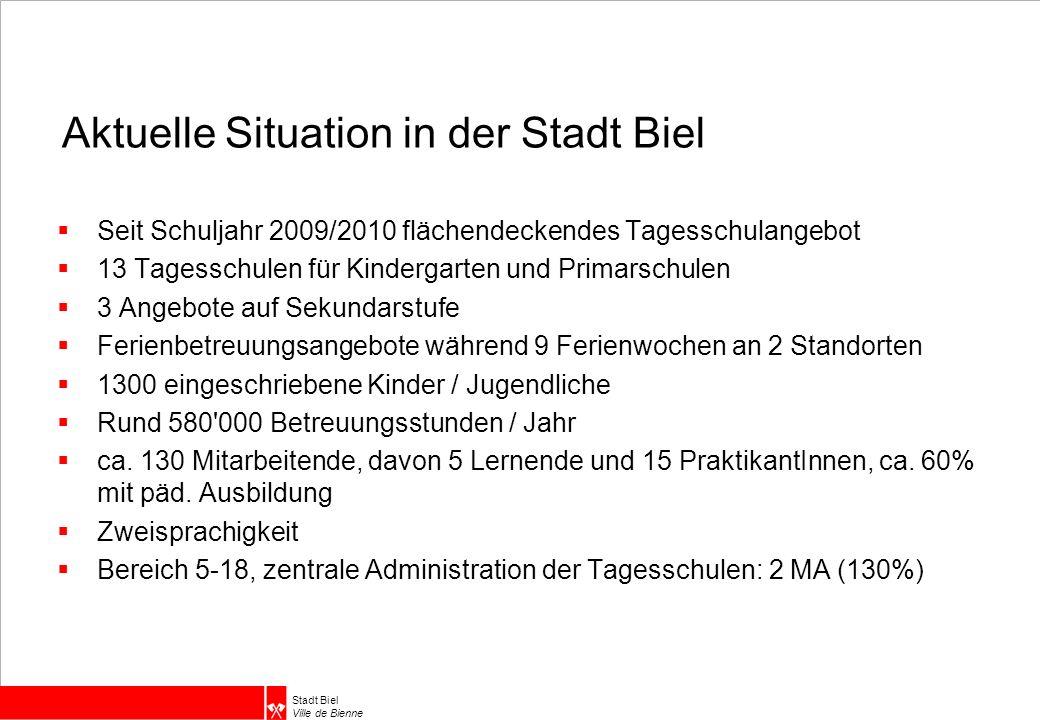 Stadt Biel Ville de Bienne Aktuelle Situation in der Stadt Biel  Seit Schuljahr 2009/2010 flächendeckendes Tagesschulangebot  13 Tagesschulen für Ki