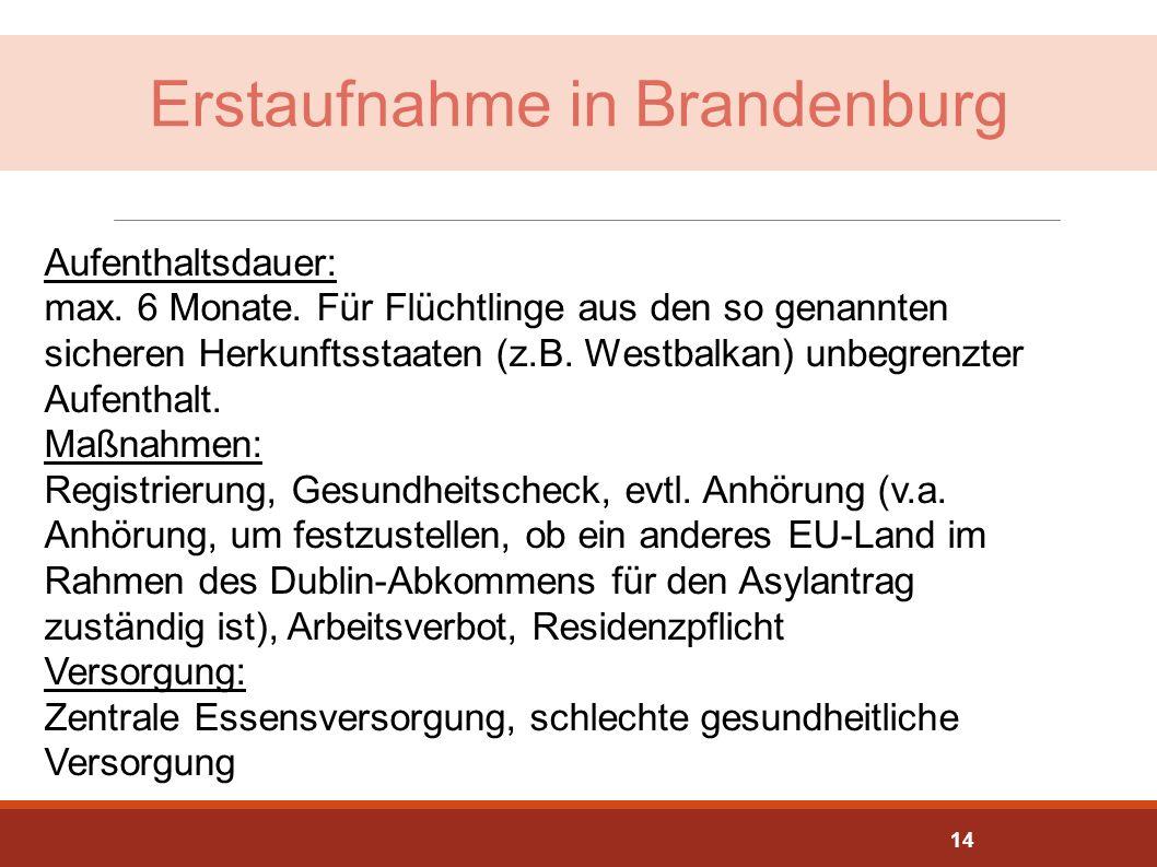 Erstaufnahme in Brandenburg Aufenthaltsdauer: max. 6 Monate. Für Flüchtlinge aus den so genannten sicheren Herkunftsstaaten (z.B. Westbalkan) unbegren