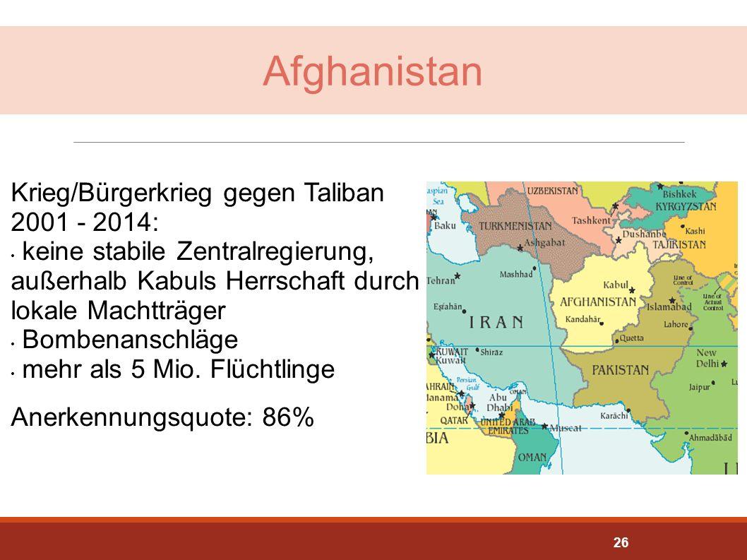 Afghanistan Krieg/Bürgerkrieg gegen Taliban 2001 - 2014: keine stabile Zentralregierung, außerhalb Kabuls Herrschaft durch lokale Machtträger Bombenan