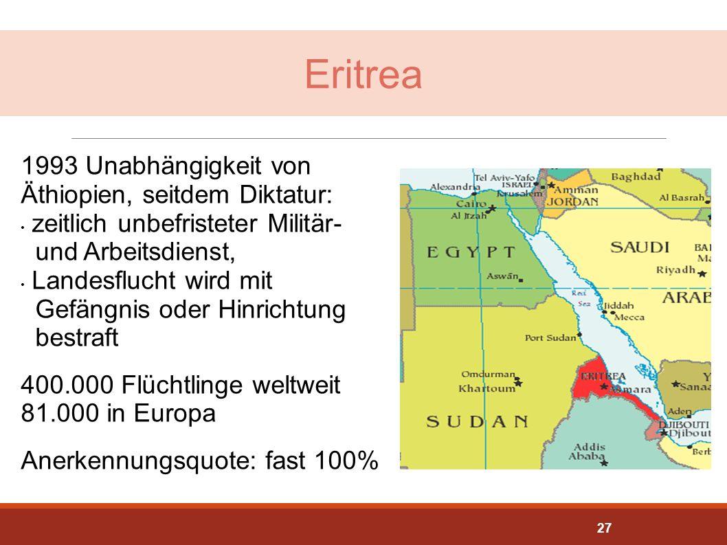 Eritrea 1993 Unabhängigkeit von Äthiopien, seitdem Diktatur: zeitlich unbefristeter Militär- und Arbeitsdienst, Landesflucht wird mit Gefängnis oder H