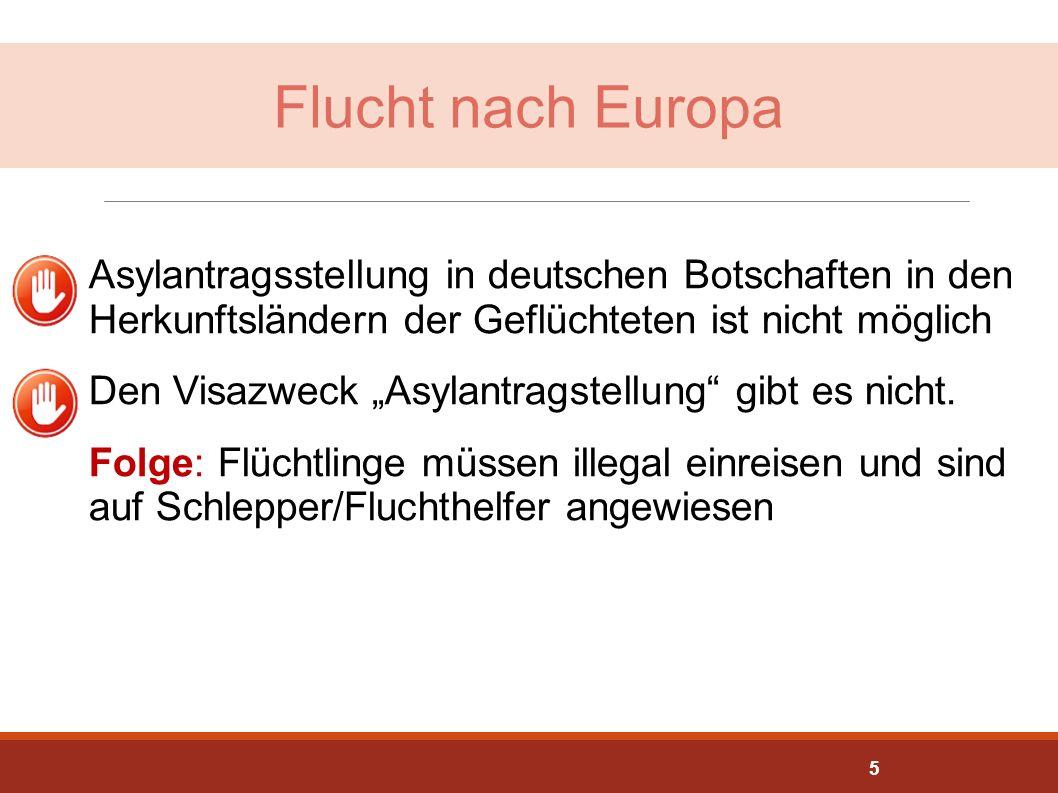 """Flucht nach Europa Asylantragsstellung in deutschen Botschaften in den Herkunftsländern der Geflüchteten ist nicht möglich Den Visazweck """"Asylantragst"""