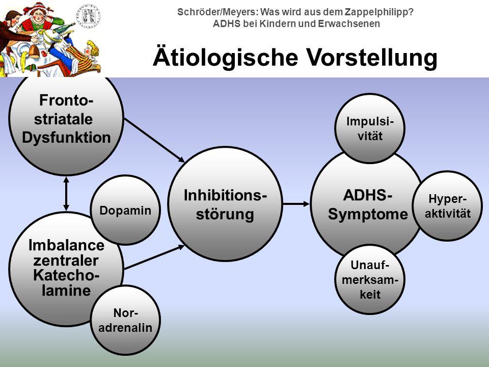 Fronto- striatale Dysfunktion Imbalance zentraler Katecho- lamine Inhibitions- störung ADHS- Symptome Dopamin Nor- adrenalin Impulsi- vität Unauf- merksam- keit Hyper- aktivität Schröder/Meyers: Was wird aus dem Zappelphilipp.