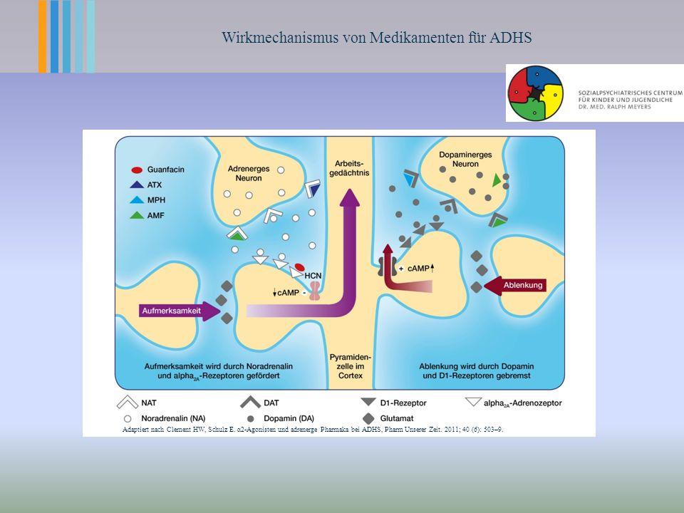 Wirkmechanismus von Medikamenten für ADHS Adaptiert nach Clement HW, Schulz E.