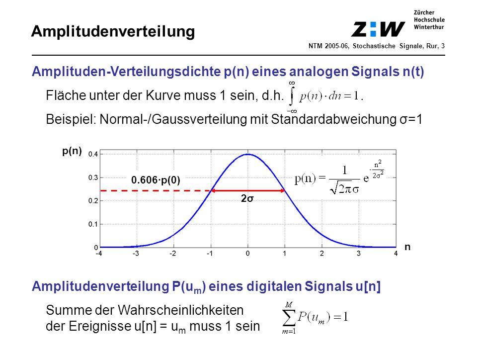 Amplitudenverteilung NTM 2005-06, Stochastische Signale, Rur, 3 Amplituden-Verteilungsdichte p(n) eines analogen Signals n(t) Fläche unter der Kurve m