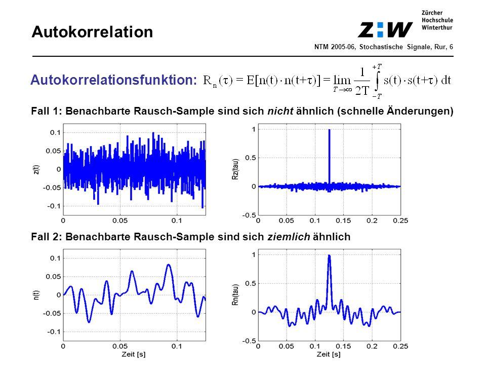 Autokorrelation NTM 2005-06, Stochastische Signale, Rur, 6 Autokorrelationsfunktion: Fall 1: Benachbarte Rausch-Sample sind sich nicht ähnlich (schnel