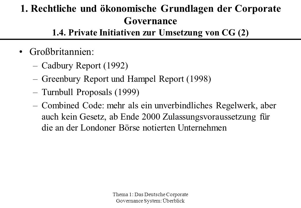 Thema 1: Das Deutsche Corporate Governance System: Überblick 1. Rechtliche und ökonomische Grundlagen der Corporate Governance 1.4. Private Initiative