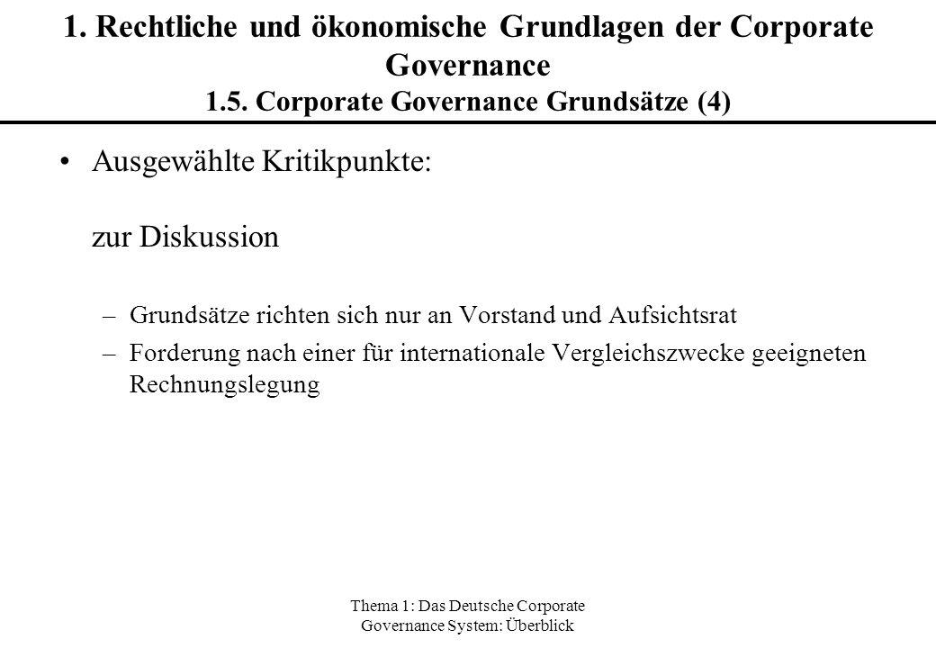 Thema 1: Das Deutsche Corporate Governance System: Überblick 1. Rechtliche und ökonomische Grundlagen der Corporate Governance 1.5. Corporate Governan
