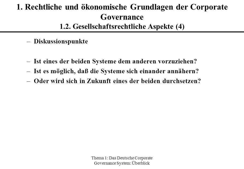 Thema 1: Das Deutsche Corporate Governance System: Überblick 1. Rechtliche und ökonomische Grundlagen der Corporate Governance 1.2. Gesellschaftsrecht