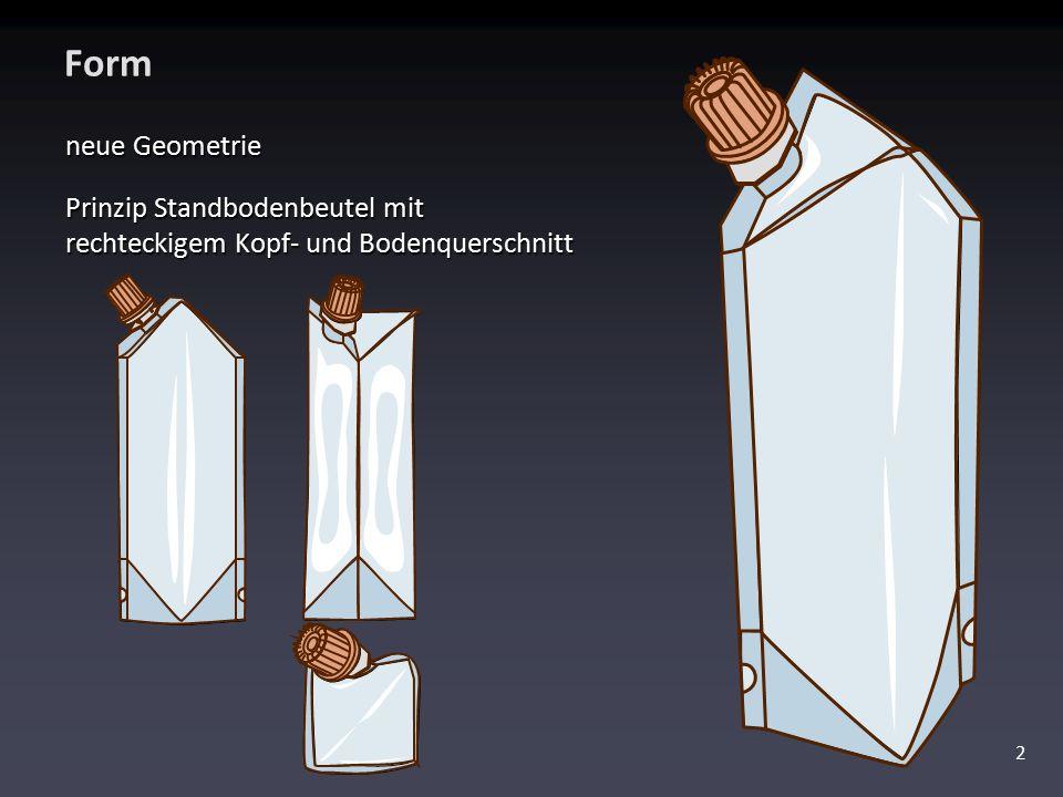 Form neue Geometrie Prinzip Standbodenbeutel mit rechteckigem Kopf- und Bodenquerschnitt 2