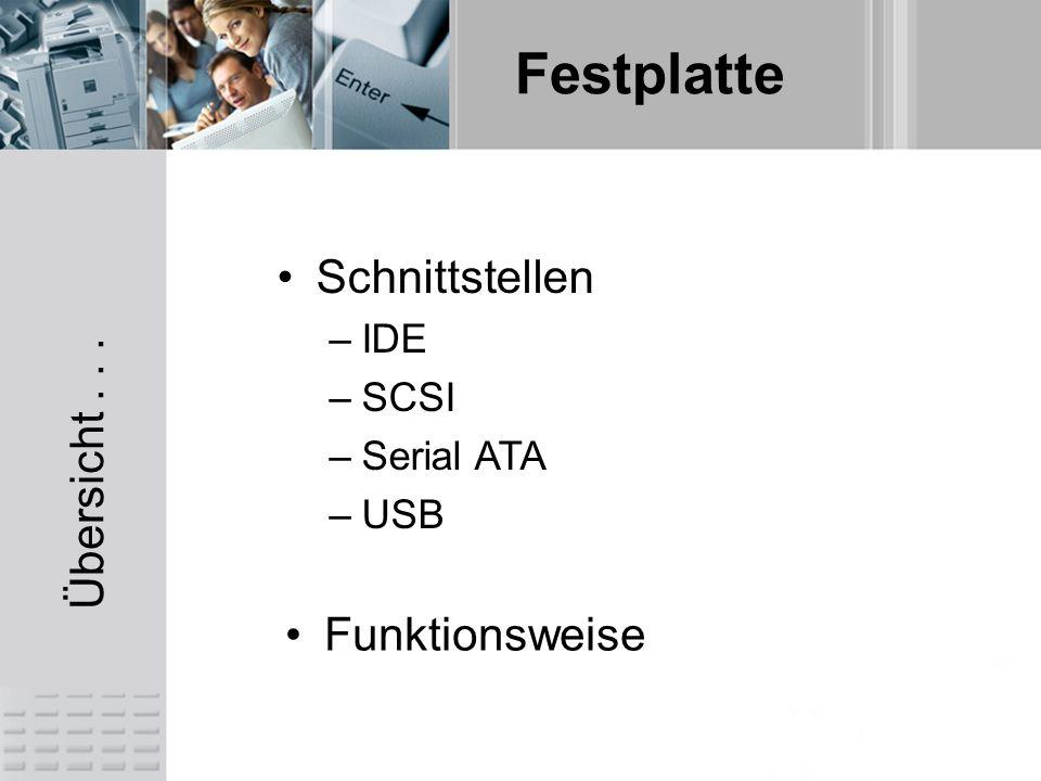 Übersicht... Schnittstellen –IDE –SCSI –Serial ATA –USB Funktionsweise