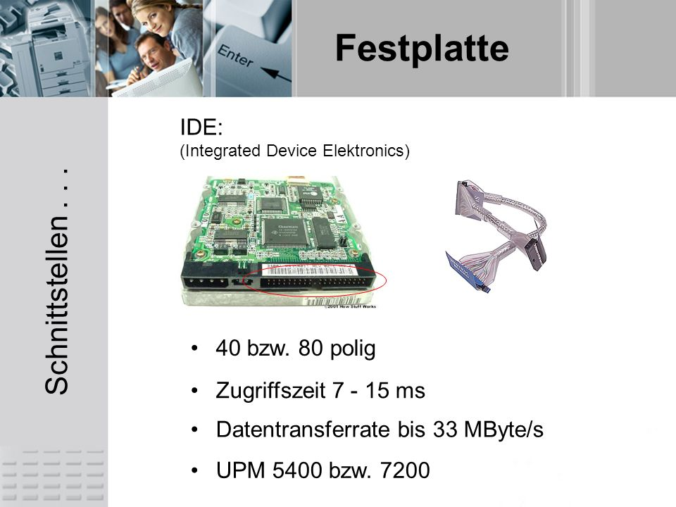 Festplatte Schnittstellen... IDE: (Integrated Device Elektronics) Datentransferrate bis 33 MByte/s Zugriffszeit 7 - 15 ms 40 bzw. 80 polig UPM 5400 bz