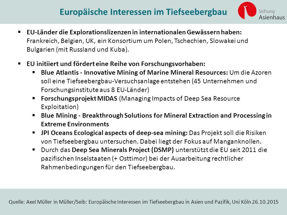 Quelle: Axel Müller in Müller/Seib: Europäische Interessen im Tiefseebergbau in Asien und Pazifik, Uni Köln 26.10.2015 Europäische Interessen im Tiefs
