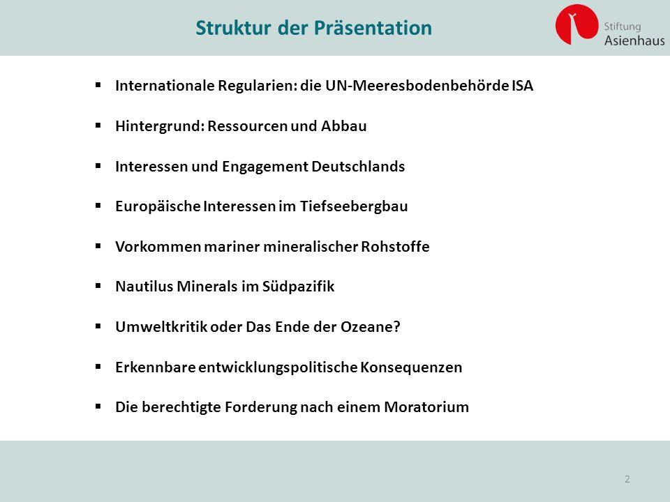 Struktur der Präsentation  Internationale Regularien: die UN-Meeresbodenbehörde ISA  Hintergrund: Ressourcen und Abbau  Interessen und Engagement D