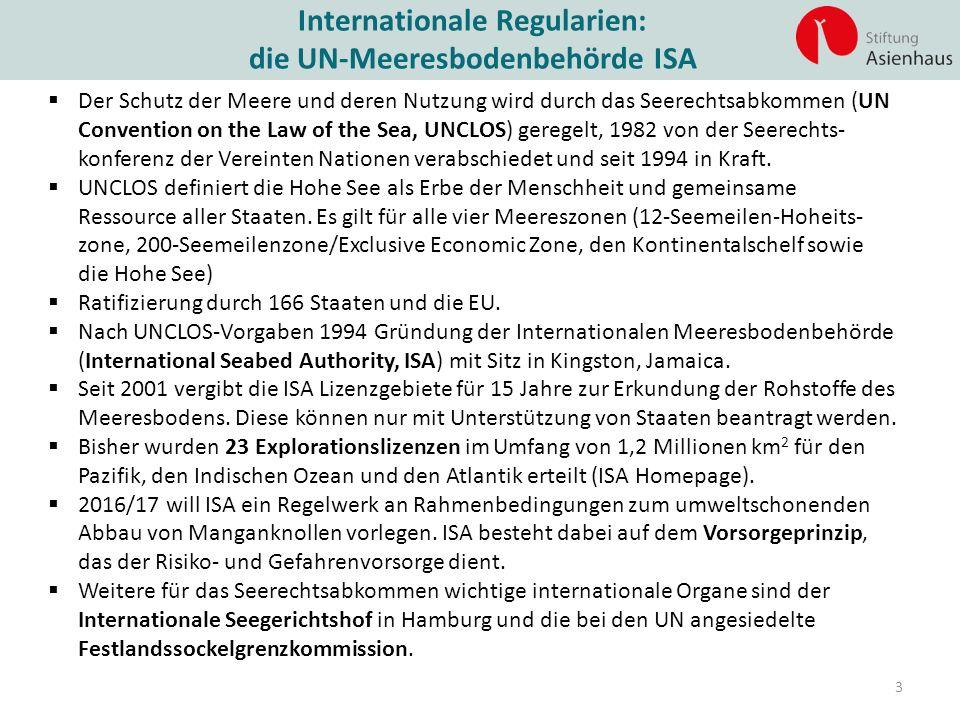 Internationale Regularien: die UN-Meeresbodenbehörde ISA 3  Der Schutz der Meere und deren Nutzung wird durch das Seerechtsabkommen (UN Convention on