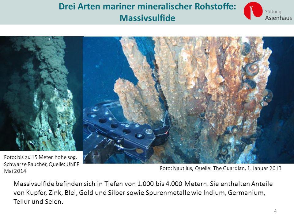 Drei Arten mariner mineralischer Rohstoffe: Massivsulfide Foto: Nautilus, Quelle: The Guardian, 1. Januar 2013 Foto: bis zu 15 Meter hohe sog. Schwarz