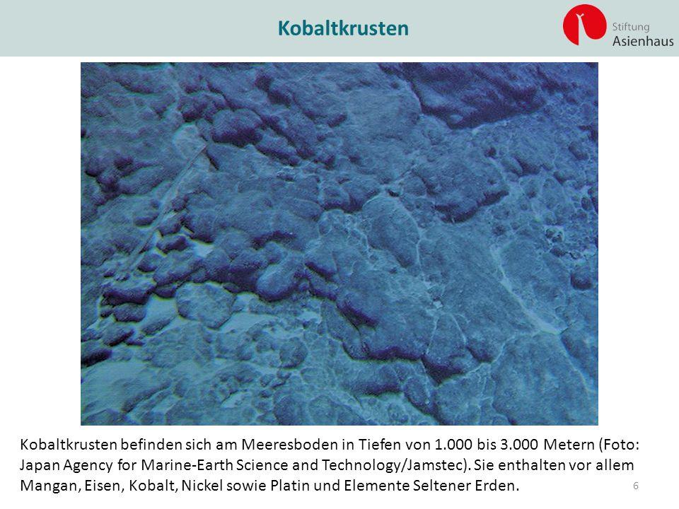 Kobaltkrusten Kobaltkrusten befinden sich am Meeresboden in Tiefen von 1.000 bis 3.000 Metern (Foto: Japan Agency for Marine-Earth Science and Technol