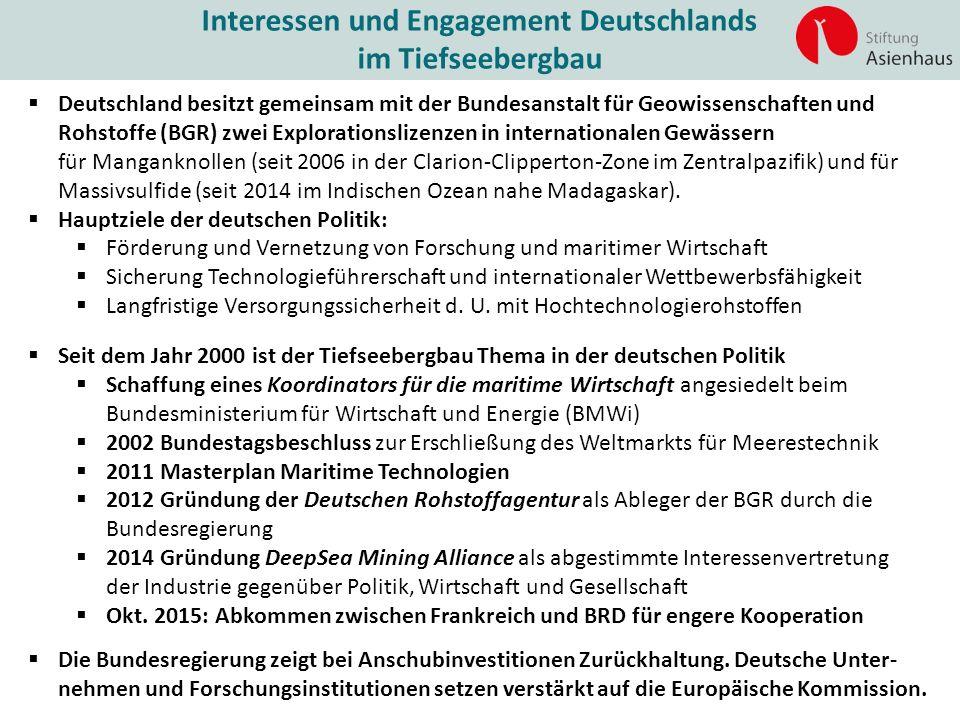 Interessen und Engagement Deutschlands im Tiefseebergbau  Deutschland besitzt gemeinsam mit der Bundesanstalt für Geowissenschaften und Rohstoffe (BG