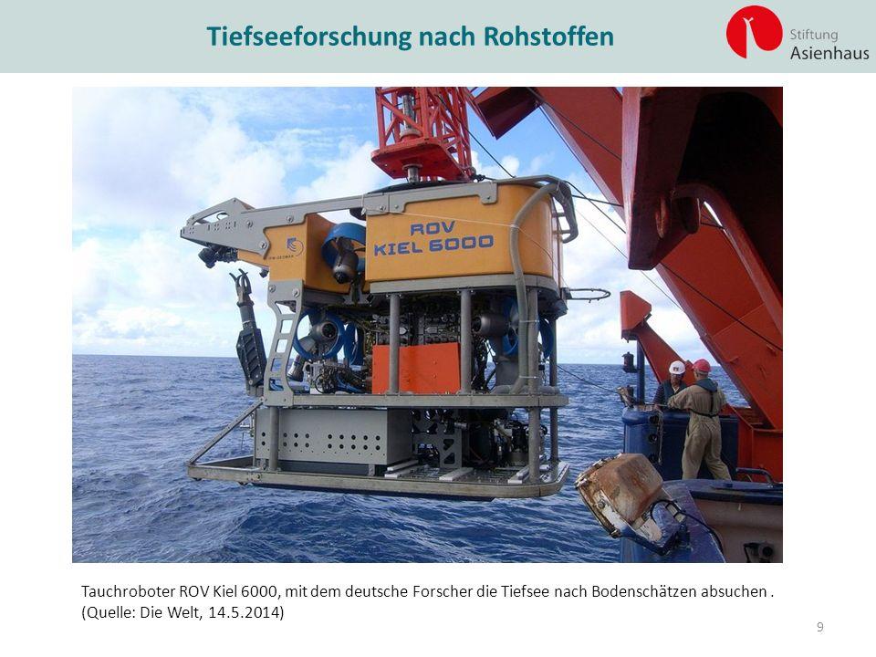 Tauchroboter ROV Kiel 6000, mit dem deutsche Forscher die Tiefsee nach Bodenschätzen absuchen. (Quelle: Die Welt, 14.5.2014) Tiefseeforschung nach Roh