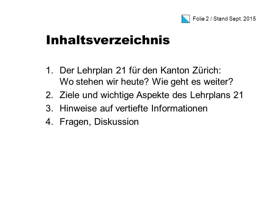 Folie 2 / Stand Sept. 2015 Inhaltsverzeichnis 1.Der Lehrplan 21 für den Kanton Zürich: Wo stehen wir heute? Wie geht es weiter? 2.Ziele und wichtige A