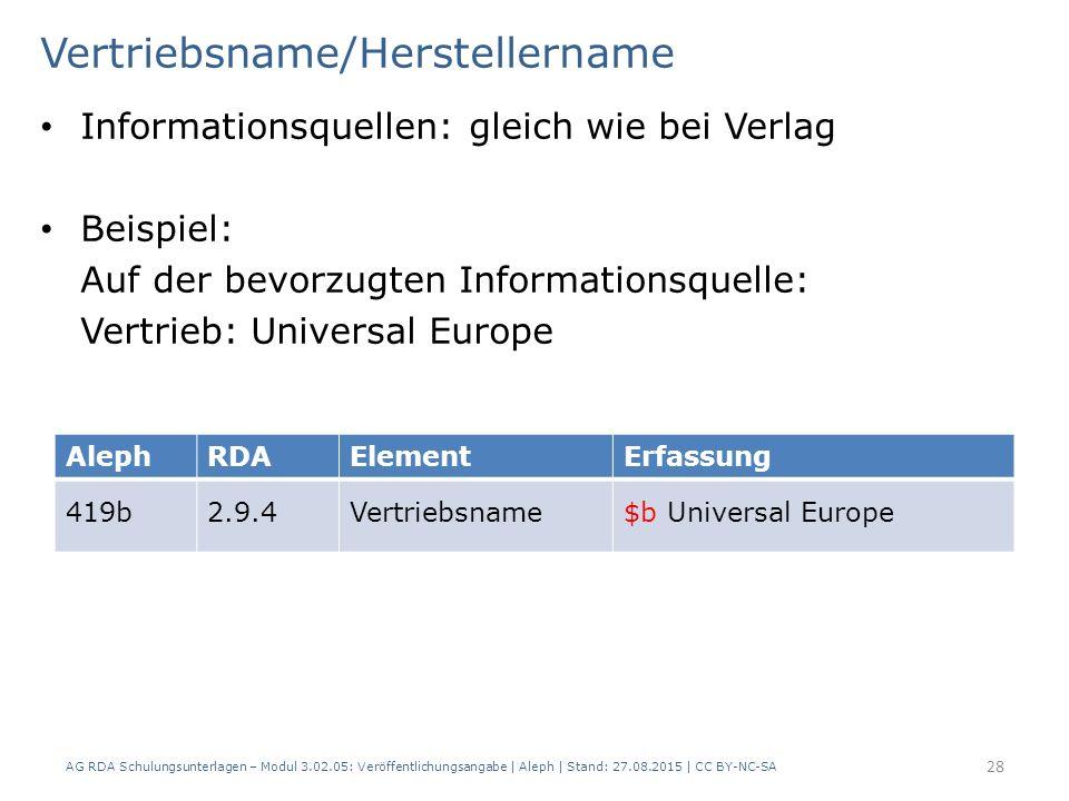 Vertriebsname/Herstellername Informationsquellen: gleich wie bei Verlag Beispiel: Auf der bevorzugten Informationsquelle: Vertrieb: Universal Europe A
